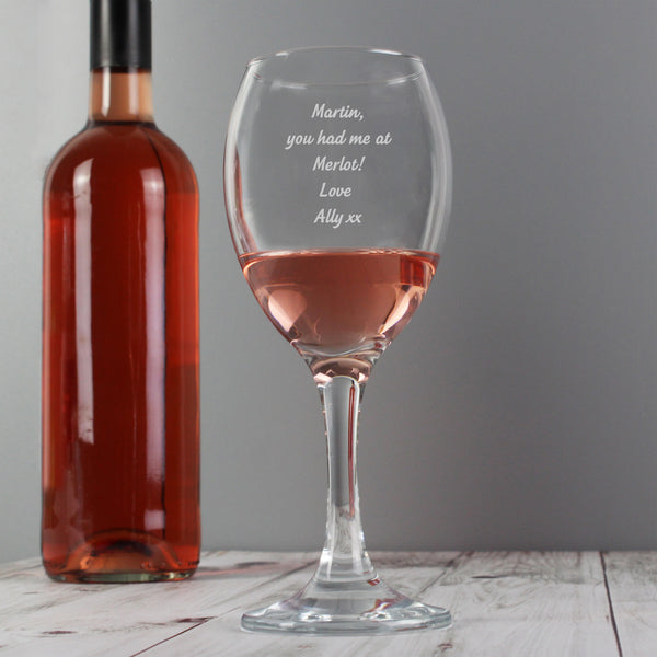 Personalised Any Message Wine Glass lifestyle image