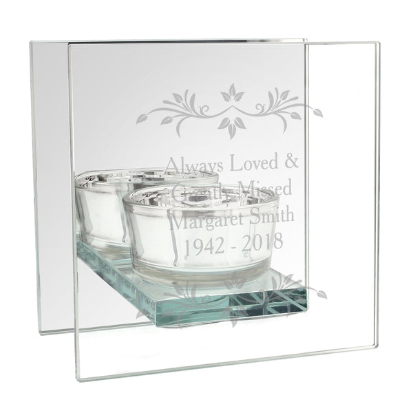 Personalised Sentiments Mirrored Glass Tea Light Candle Holder white background
