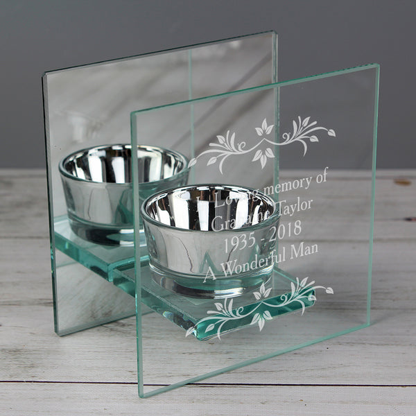 Personalised Sentiments Mirrored Glass Tea Light Candle Holder from Sassy Bloom Gifts - alternative view