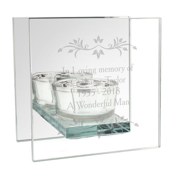 Personalised Sentiments Mirrored Glass Tea Light Candle Holder lifestyle image
