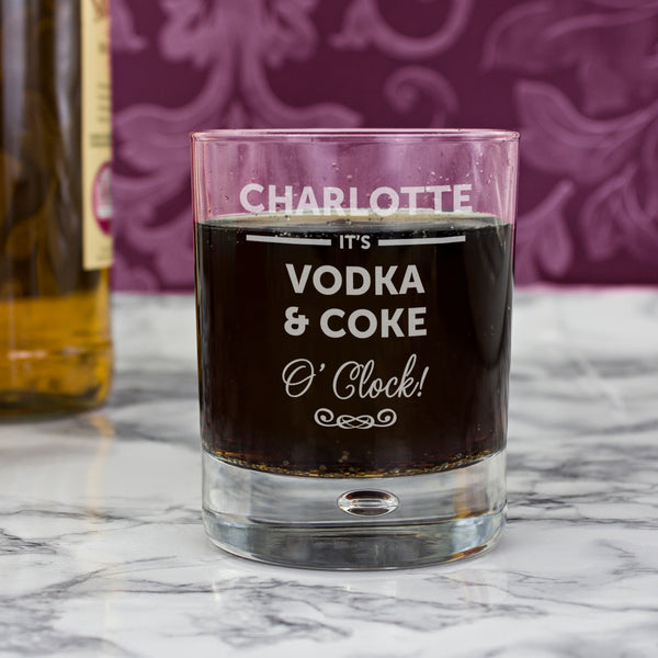 Personalised Its... OClock Tumbler Bubble Glass from Sassy Bloom Gifts - alternative view