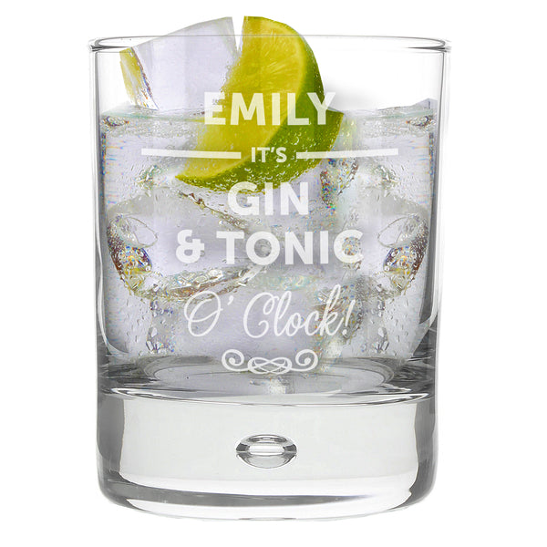 Personalised Its... OClock Tumbler Bubble Glass lifestyle image