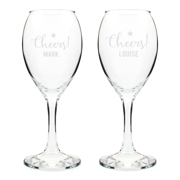 Personalised Cheers Wine Glass Set white background
