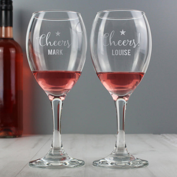Personalised Cheers Wine Glass Set from Sassy Bloom Gifts - alternative view