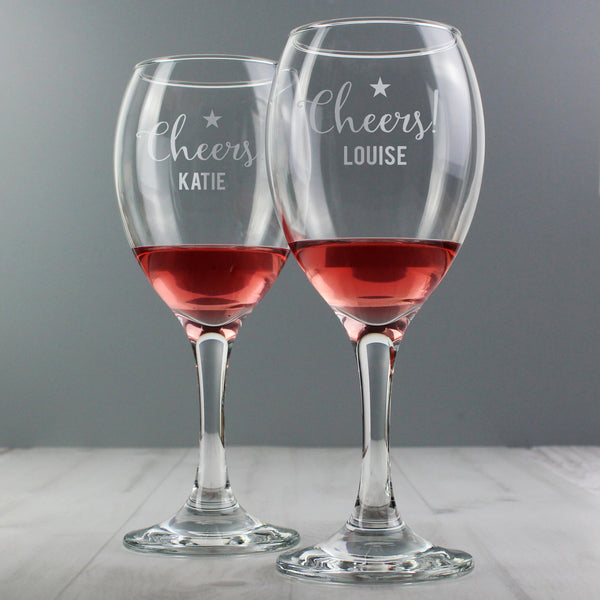 Personalised Cheers Wine Glass Set with personalised name
