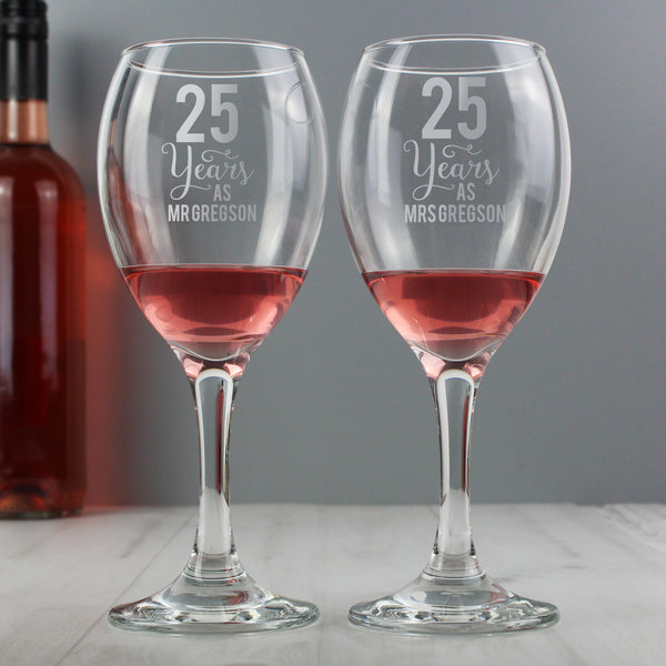 Personalised Years As... Wine Glass Set lifestyle image