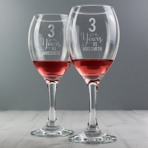 Personalised Years As... Wine Glass Set with personalised name