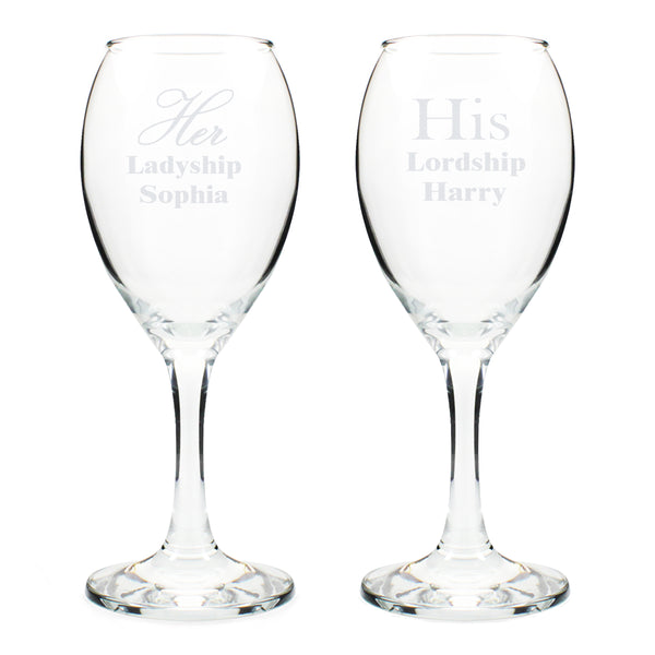 Personalised His & Her Wine Glass Set white background