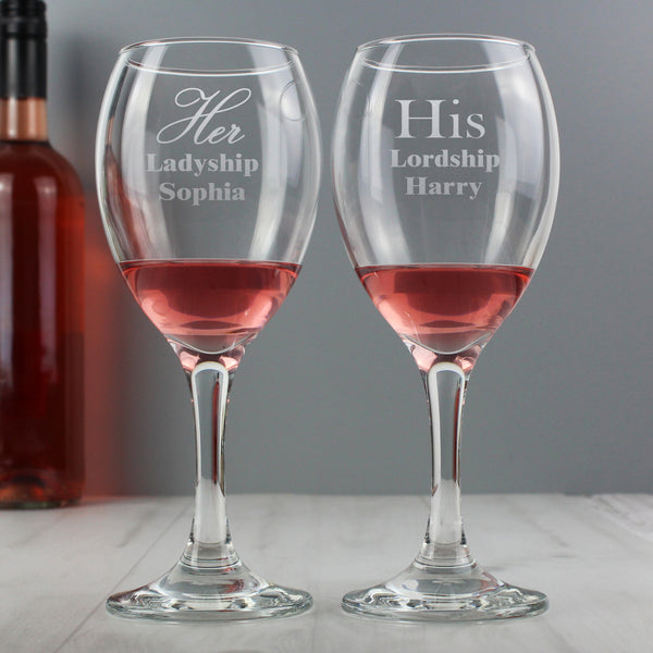 Personalised His & Her Wine Glass Set lifestyle image