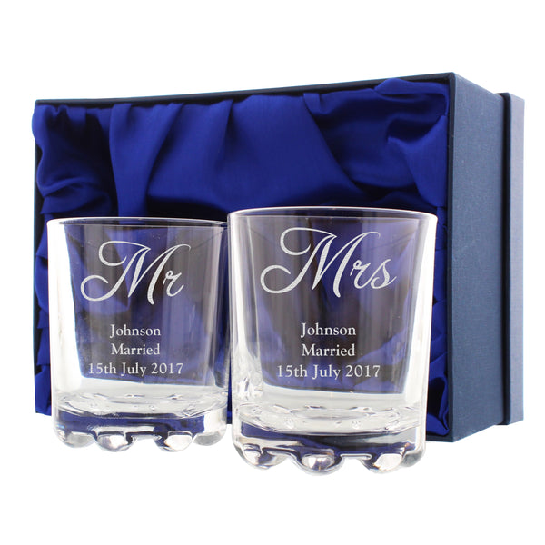 Personalised Mr & Mrs Pair of Tumblers white background