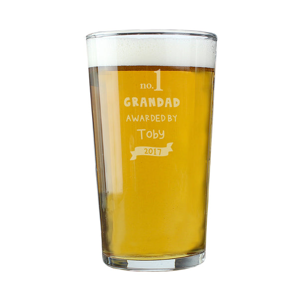 Personalised no.1 Awarded By Pint Glass white background
