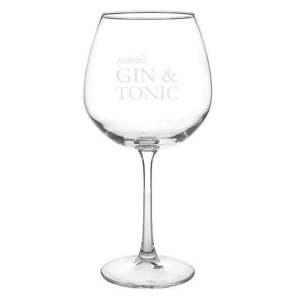 Personalised Gin & Tonic Balloon Glass white background