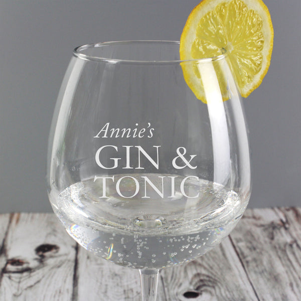 Personalised Gin & Tonic Balloon Glass from Sassy Bloom Gifts - alternative view