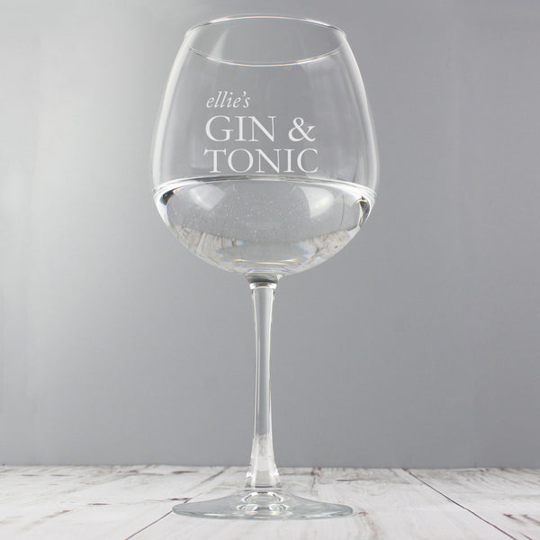 Personalised Gin & Tonic Balloon Glass lifestyle image