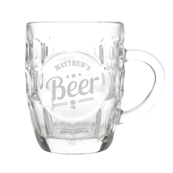 Personalised Beer Label Dimple Tankard Pint Glass white background