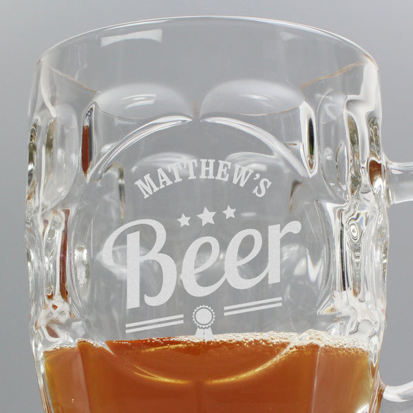 Personalised Beer Label Dimple Tankard Pint Glass lifestyle image