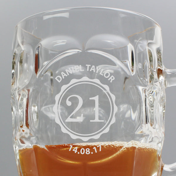 Personalised Bottle Top Dimple Tankard Pint Glass lifestyle image