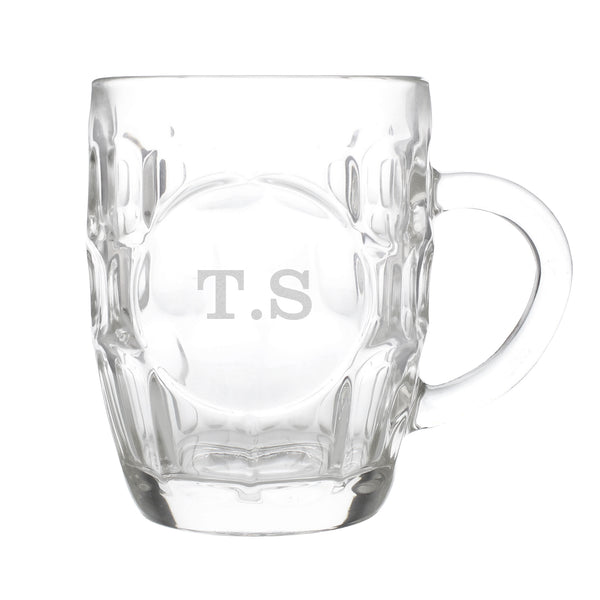 Personalised Initial Dimple Tankard Pint Glass white background