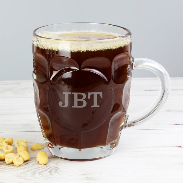 Personalised Initial Dimple Tankard Pint Glass from Sassy Bloom Gifts - alternative view