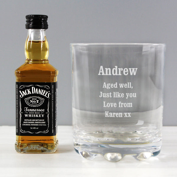 Personalised Tumbler and Whiskey Miniature Set with personalised name