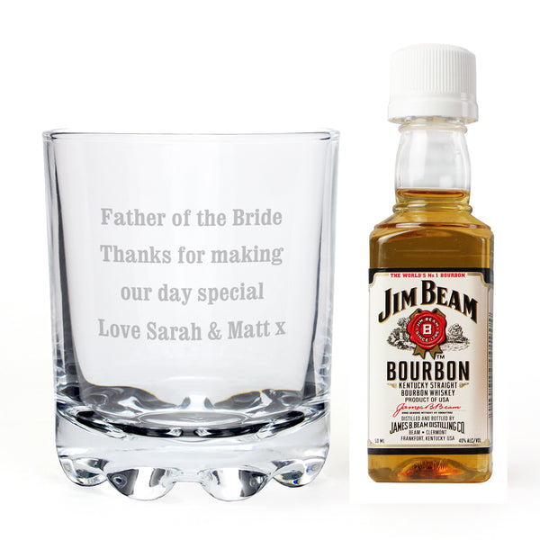 Personalised Tumbler and Jim Beam Miniature Set white background