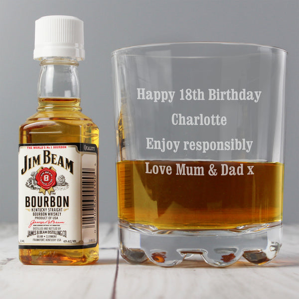 Personalised Tumbler and Jim Beam Miniature Set with personalised name