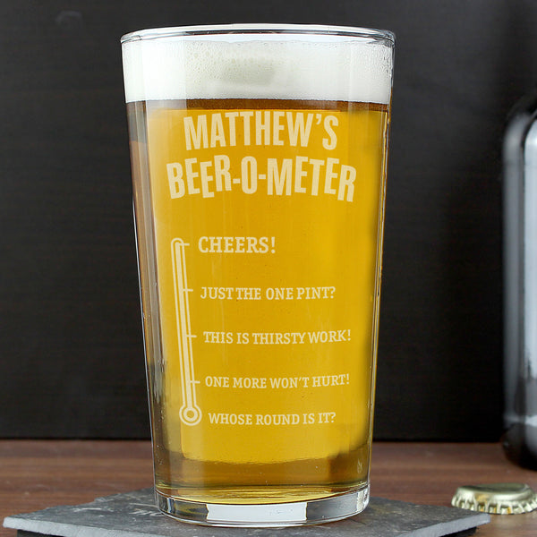 Personalised Beer-o-Meter Pint Glass from Sassy Bloom Gifts - alternative view