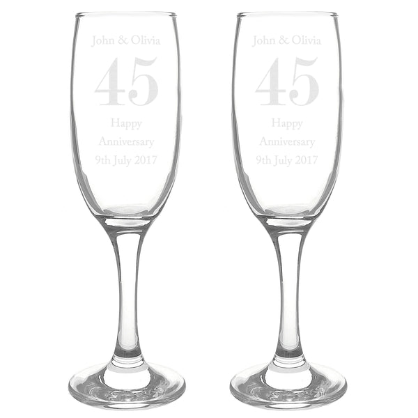 Personalised Anniversary Pair of Flutes with Gift Box white background