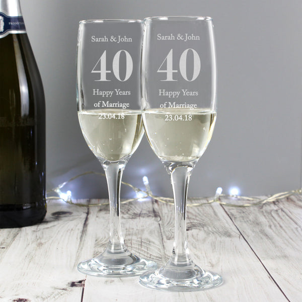 Personalised Anniversary Pair of Flutes with Gift Box from Sassy Bloom Gifts - alternative view