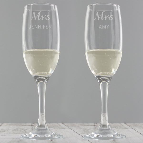 Personalised Classic Pair of Flutes with personalised name