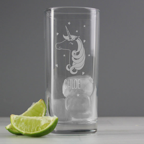 Personalised Unicorn Engraved Hi Ball Glass from Sassy Bloom Gifts - alternative view