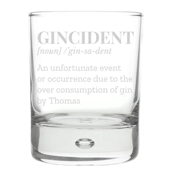 Personalised Gincident Tumbler Bubble Glass white background