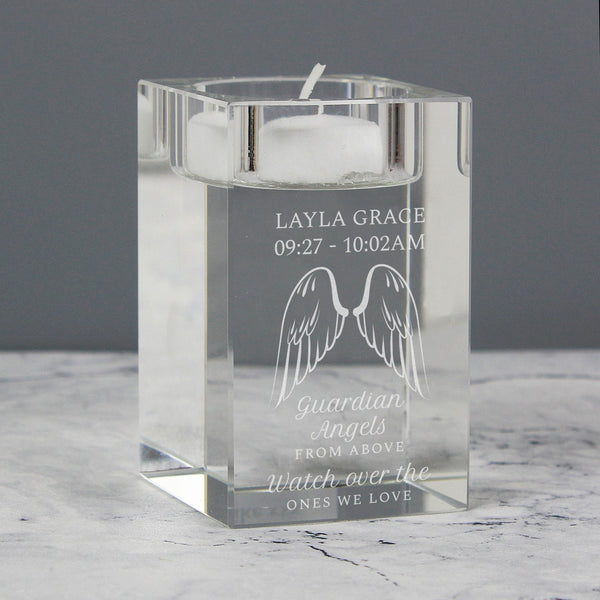 Personalised Guardian Angel Wings Glass Tea Light Holder with personalised name