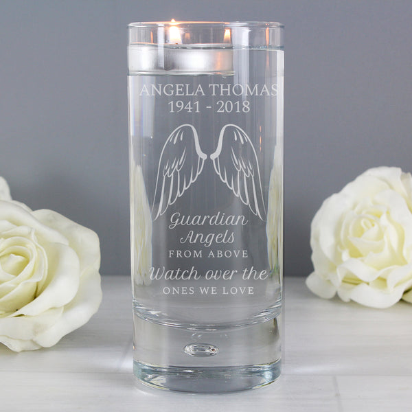 Personalised Guardian Angel Wings Floating Candle Holder lifestyle image