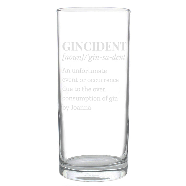 Personalised Gincident Hi Ball Glass white background