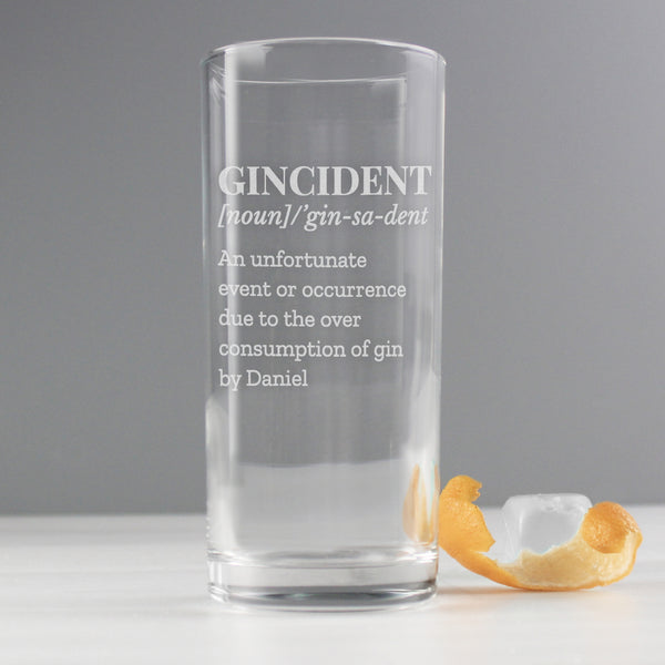 Personalised Gincident Hi Ball Glass with personalised name