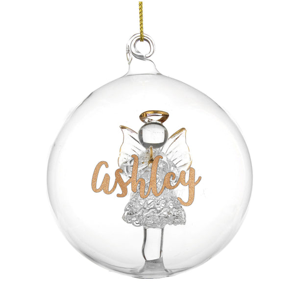 Personalised Gold Glitter Name Only Angel Glass Bauble white background