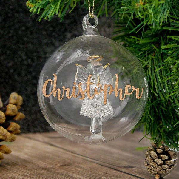 Personalised Gold Glitter Name Only Angel Glass Bauble from Sassy Bloom Gifts - alternative view