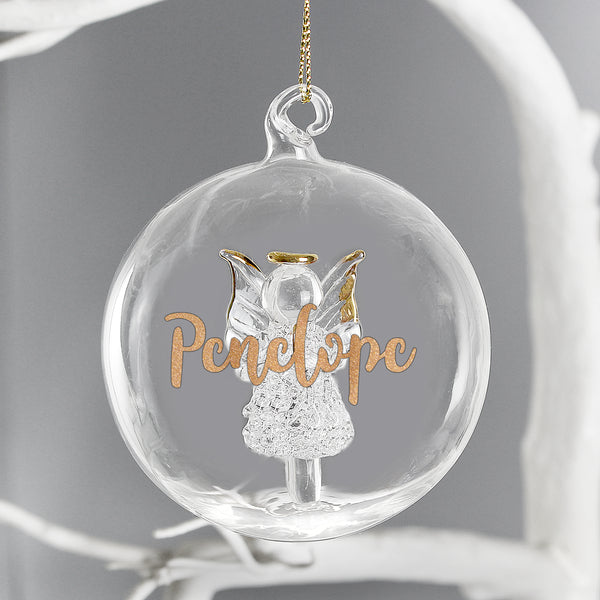 Personalised Gold Glitter Name Only Angel Glass Bauble lifestyle image