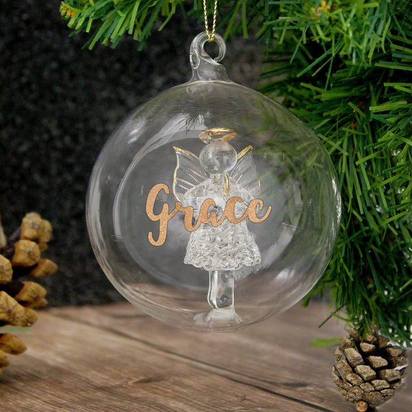 Personalised Gold Glitter Name Only Angel Glass Bauble with personalised name