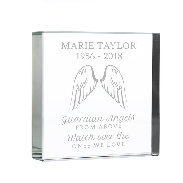 Personalised Guardian Angel Wings Large Crystal Token white background