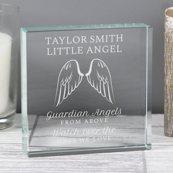 Personalised Guardian Angel Wings Large Crystal Token with personalised name
