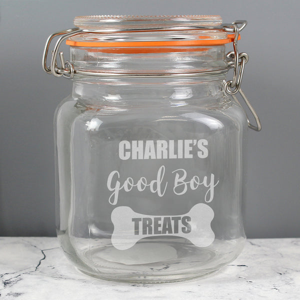Personalised Good Boy Treats Glass Kilner Jar from Sassy Bloom Gifts - alternative view