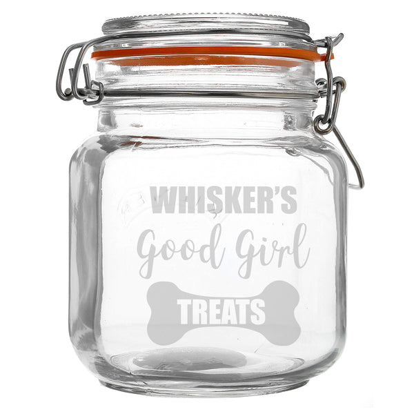 Personalised Good Girl Treats Glass Kilner Jar with personalised name