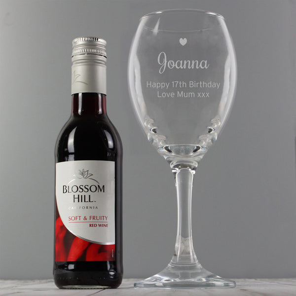 Personalised Red Wine & Heart Wine Glass Set white background
