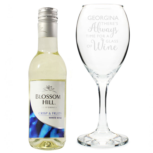 Personalised White Wine & 'Always Time for Wine' Glass Set from Sassy Bloom Gifts - alternative view