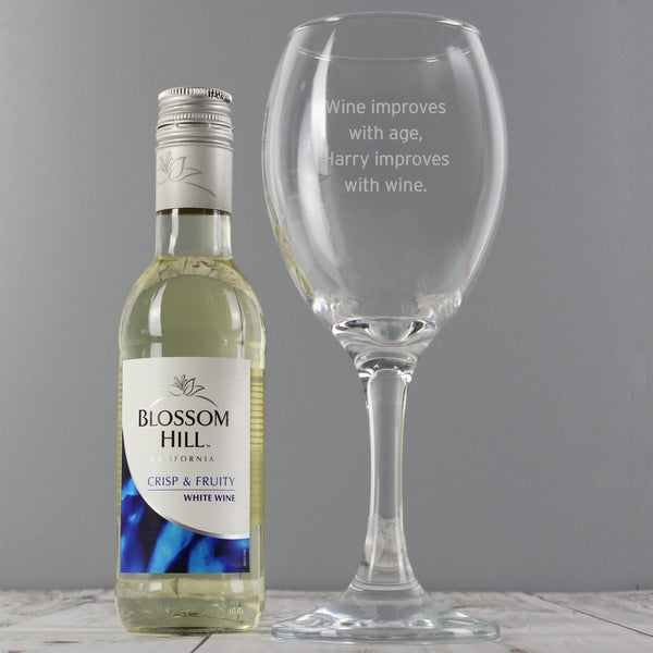 Personalised White Wine & Any Message Wine Glass Set white background