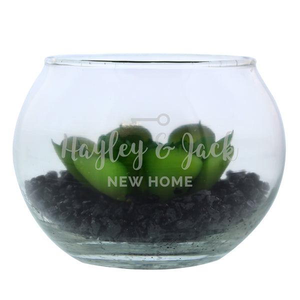 Personalised New Home Glass Terrarium white background