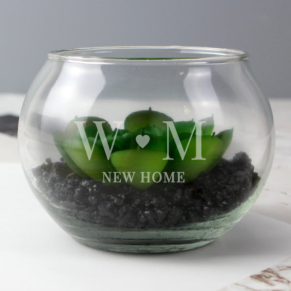 Personalised Initials Glass Terrarium from Sassy Bloom Gifts - alternative view