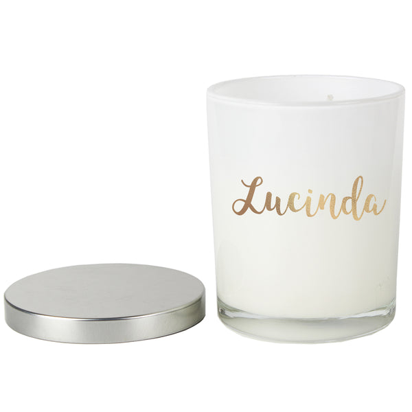 Personalised Gold Name Scented Jar Candle with Lid white background